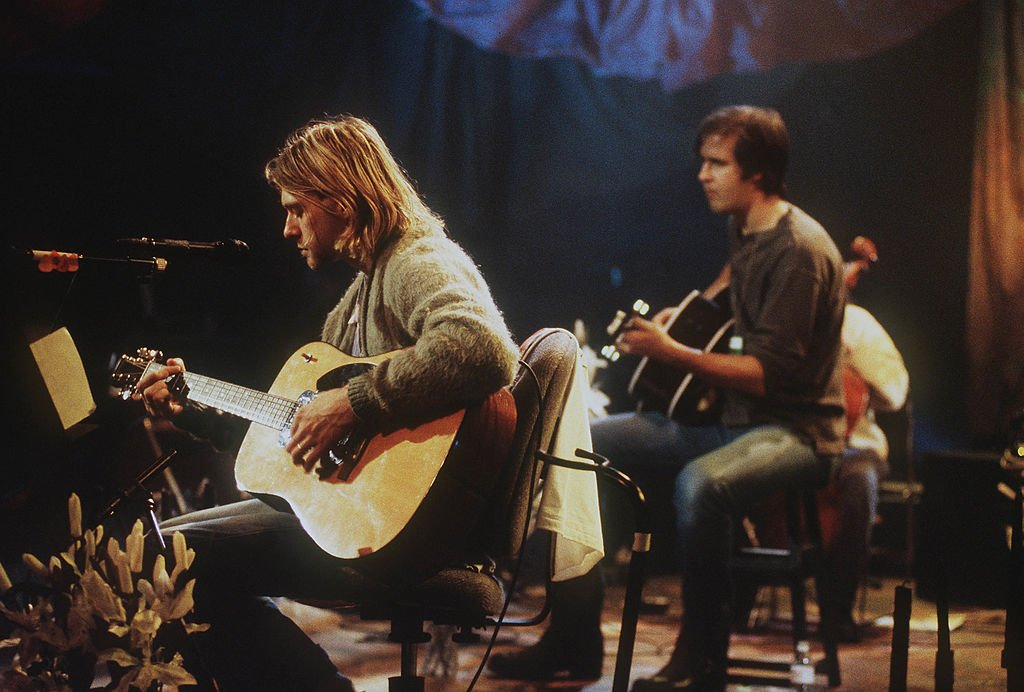 Kurt Cobain of Nirvana during the taping of MTV Unplugged at Sony Studios in New York City, 11/18/93. (Photo by Frank Micelotta via Getty Images)